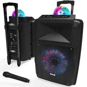 Pyle Portable 700-Watt Inside/Outside Wireless Speaker/Subwoofer DJ Karaoke Machine with Fun LED Disco Party Lights