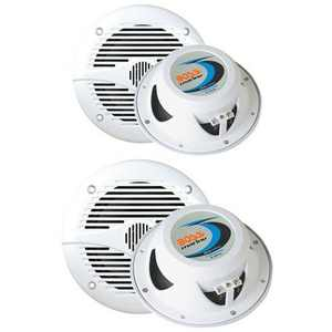 """2) BOSS MR50W 5.25"""" 150W + 2) MR60W 6.5"""" 200W 2-Way Marine/Boat Coaxial Speakers"""