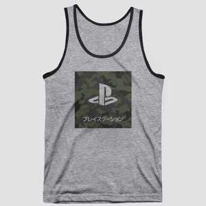 Men's PlayStation Camo Print Tank Top - Gray