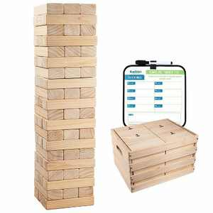 Giantville Indoor Outdoor Backyard Giant 60 Piece Extra Jumbo Solid Pine Hardwood Tumbling Timber Block Toy Tower Game with Storage Crate