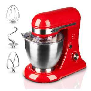 Geek Chef GSM45R Stainless Steel 4.8 Quart Bowl 12 Speed Kitchen Countertop Baking Food Stand Mixer with Beater Paddle, Dough Hook, and Whisk, Red