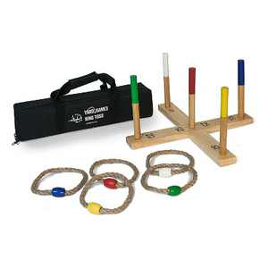 Yard Games Portable On the Go Outdoor Playground Wooden Frame 5 Rope Ring Toss Lawn Party Game with Nylon Carrying Case and Color Weighted Markers