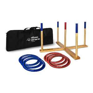 Yard Games Portable On the Go Outdoor Giant Wooden Frame Ring Toss Lawn Game with 6 10 inch Soft Touch Rubber Edged Throwing Rings and Carrying Case