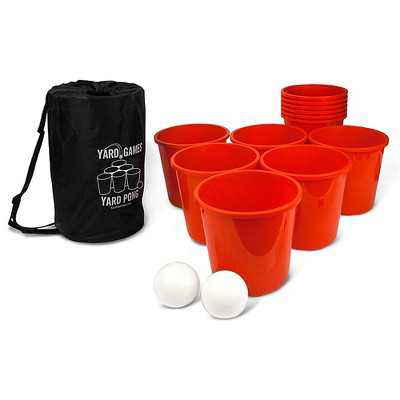 Yard Games Giant Outdoor Yard Pong Activity Party Set with 12 Buckets, 2 Balls, and Tough Nylon Carrying Case for Backyards or Tailgating Events