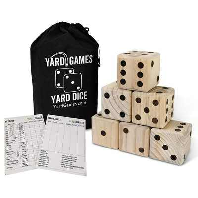 Yard Games 3.5 Inch Giant Outdoor Indoor Hand Sanded Wooden Dice Set with Laminated Scorecards and Carrying Case Fun For Kids and Adults of All Ages