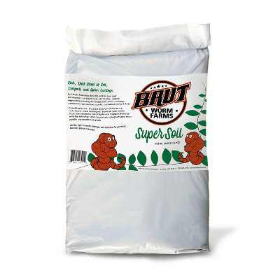 Brut Worm Farms Super Soil All Purpose Organic Potting Soil Plant Food Fertilizer with Worm Castings for Indoor and Outdoor Plants, 30 Pound Bag