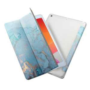 """Insten Tablet Case Compatible with iPad 10.2"""" 8th & 9th Generation, Multifold St&, Magnetic Cover Auto Sleep/Wake, Shock Resistant, Blue Marble"""
