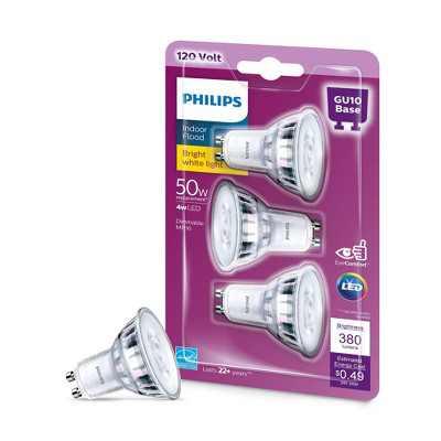 Philips Premium 50W GU10 E26 3000K LED Light Bub T20 Bright White