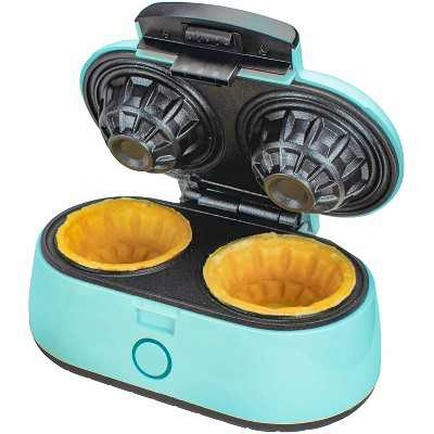 Brentwood TS-1402BL 1000 Watt Kitchen Counter Double Bowl Mini Waffle Maker for Breakfast, Lunch, Dinner, and Dessert, Blue