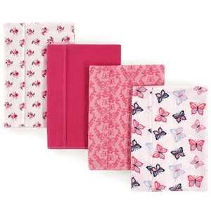 Hudson Baby Infant Girl Cotton Flannel Burp Cloths 4pk, Butterflies, One Size