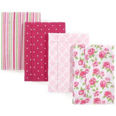 Hudson Baby Infant Girl Cotton Flannel Burp Cloths 4pk, Rose, One Size