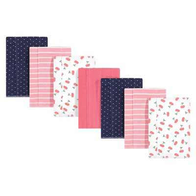 Hudson Baby Infant Girl Cotton Flannel Burp Cloths 7pk, Cherry, One Size