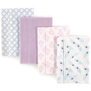 Hudson Baby Infant Girl Cotton Flannel Burp Cloths 4pk, Peacock Feather, One Size