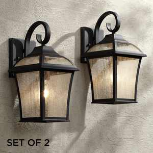 """John Timberland Traditional Outdoor Wall Lights Fixture Set of 2 Carriage Style Textured Black 15"""" Clear Seedy Glass for House"""