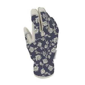 Work Gloves Woodcut Floral/Sour Cream White - Smith & Hawken