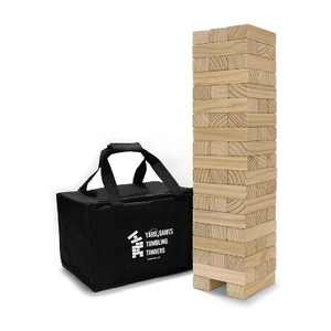 Yard Games On the Go Large Tumbling Timbers Wood Tower Stacking Outdoor Party Game w/ 56 Premium Pine Blocks & Nylon Carrying Case, Starting at 2 Feet