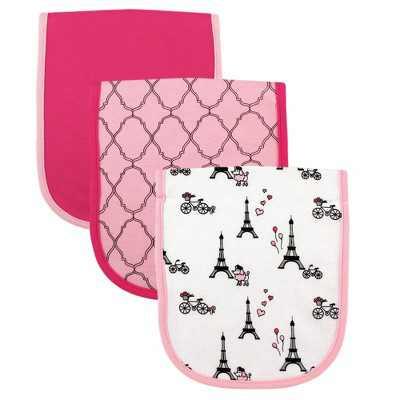 Luvable Friends Baby Girl Cotton Burp Cloths with Fiber Filling 3pk, Paris, One Size