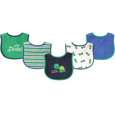 Luvable Friends Baby Boy Cotton Terry Drooler Bibs with PEVA Back 5pk, Turtle, One Size