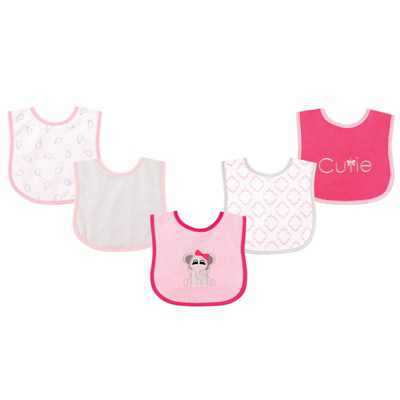 Luvable Friends Baby Girl Cotton Terry Drooler Bibs with PEVA Back 5pk, Elephant, One Size