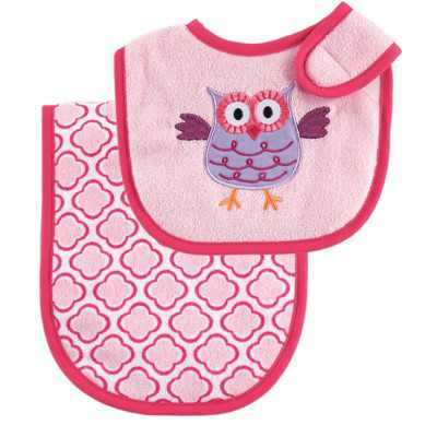 Luvable Friends Baby Girl Bib and Burp Cloth Set 2pc, Pink, One Size