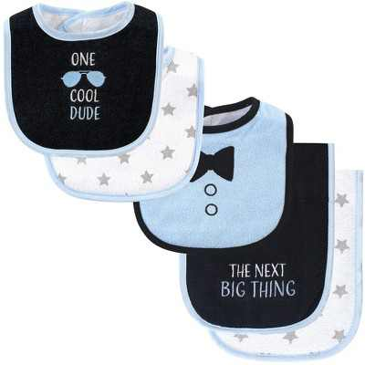 Hudson Baby Infant Boy Cotton Terry Bib and Burp Cloth Set 5pk, One Cool Dude, One Size
