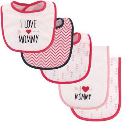 Luvable Friends Baby Girl Bib and Burp Cloth Set 5pk, Girl Mommy, One Size