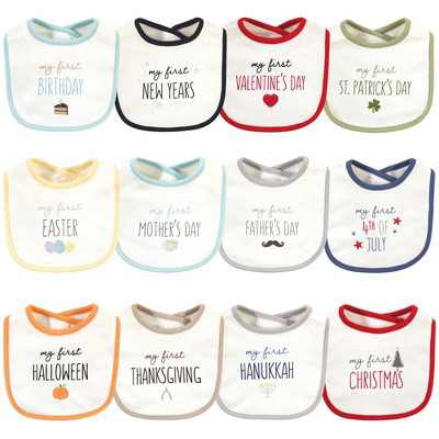 Touched by Nature Baby Organic Cotton Bibs 12pk, Holiday Neutral, One Size
