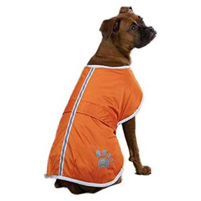 Zack & Zoey UM210 20 69 Large Polyester Noreaster Dog Coat Reversible, Adjustable, and Waterproof Blanket Cover w/ Reflective Stripe Design, Orange