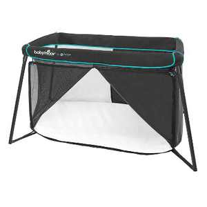 Babymoov Naos 2 in 1 Lightweight Portable Washable Memory Foam Travel Infant Crib & Playpen Playard, Carry Case Included, UV 50+ Ages 0-4, Black/Blue