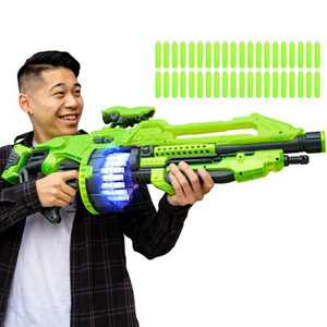 Best Choice Products Kids XL Foam Dart Alien Blaster Gun Toy w/ 40 Glow-in-the-Dark Darts, Green
