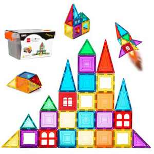 Best Choice Products 32-Piece Colorful Kids Mini Magnetic Tiles Educational STEM Toy Set w/ Carrying Case, Rounded Edges