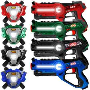 Best Choice Products Set of 4 Infrared Laser Tag Blaster & Vest Set for Kids & Adults - Red/Blue/Black/Green