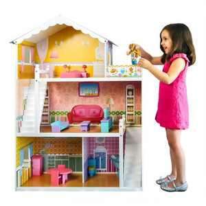 Best Choice Products 44in 3-Story Wood Dollhouse,  Large Open Mansion w/ 5 Colorful Rooms, 17 Furniture Pieces