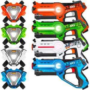 Best Choice Products Set of 4 Infrared Laser Tag Blaster & Vest Set for Kids & Adults - Orange/Green/White/Blue