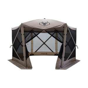 Gazelle GG601DS Easy Pop Up, Portable, Waterproof, UV-Resistant 8-Person Camping and Outdoors Gazebo Day Tent with Mesh Windows, Desert Sand