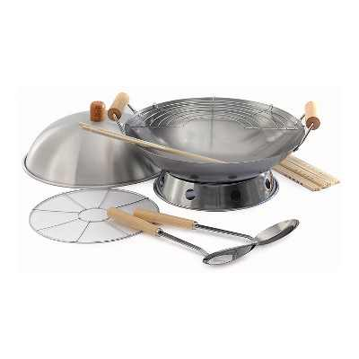 Norpro 10 Piece 14 Inch Carbon Steel Stir Fry Cooking Pan Wok Set with Racks, Chopstick, Turner, Ladle and Lid for Gas and Electric Stove