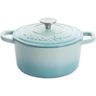 Crock-Pot 3 Quart Capacity Round Enamel Cast Iron Covered Dutch Oven Kitchen Cookware with Matching Self Basting Lid, Aqua Blue