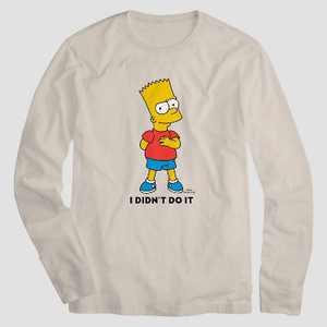 Men's Disney Bart Simpson Long Sleeve Graphic T-Shirt - Off-White
