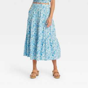 Women's Tiered Midi Skirt - Universal Thread Floral