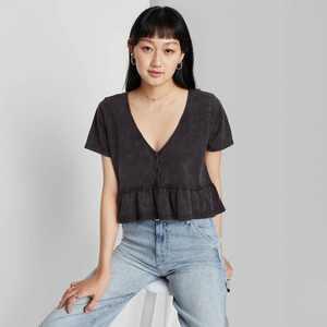 Women's Short Sleeve V-Neck Button-Front Peplum T-Shirt - Wild Fable