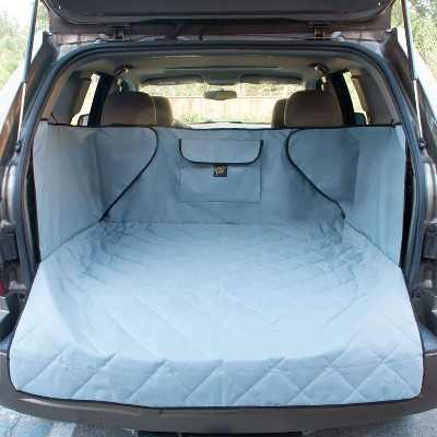 FrontPet XL 44 x 48 Inch Adjustable Padded Soft Quilt Interior SUV Cargo Cover Pet Liner with Storage Pocket and Suction Cup Installation, Gray