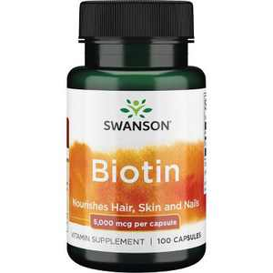 Swanson Biotin 5,000 Mcg 100 Capsules.