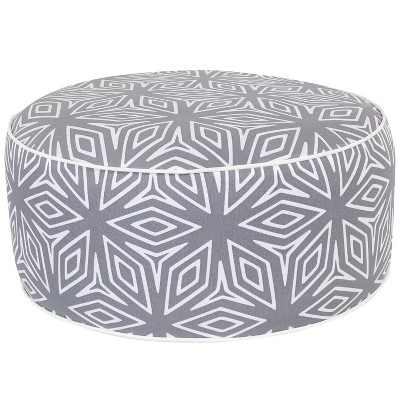 Sunnydaze Indoor/Outdoor All-Weather, Water-Resistant Inflatable Blow Up Ottoman Pouf, Gray Geometric