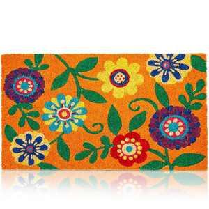 """Juvale Floral Coir Doormat Welcome Front Door Mat Indoor Outdoor Rugs 17""""x30"""""""
