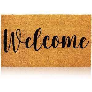 """Juvale Cheetah Welcome Coir Door Mat Indoor Outdoor Doormat Nonslip Front Rugs 17""""x30"""""""