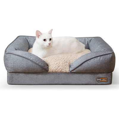 K&H Pet Products Small Sized Washable Pet Furniture Comfortable Over Stuffed Pillow Top Orthopedic Dog Bed Lounger, 18 x 24 Inches, Classy Gray