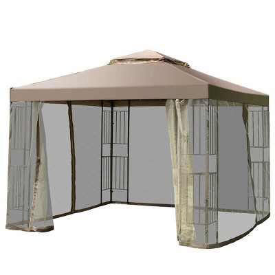 Costway Outdoor 10'x10' Gazebo Canopy Shelter Awning Tent Patio Screw-free structure Garden