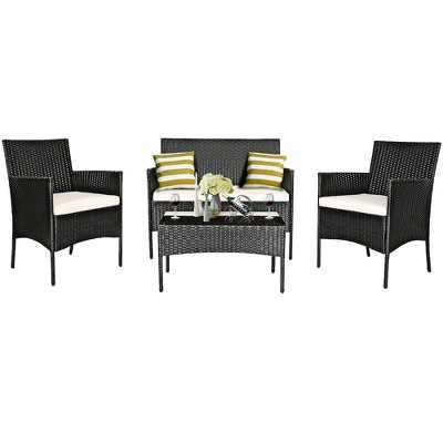 Costway Patio 4PCS Furniture Set Rattan Wicker Outdoor