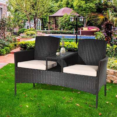 Costway Patio Rattan Conversation Set Loveseat Sofa Cushioned Coffee Table Mix Brown