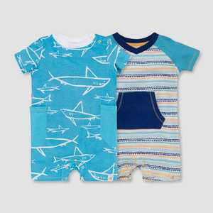 Burt's Bees Baby Boys' 2pk Shiver of Sharks Romper Set - Blue